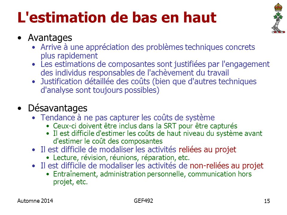 L estimation de bas en haut