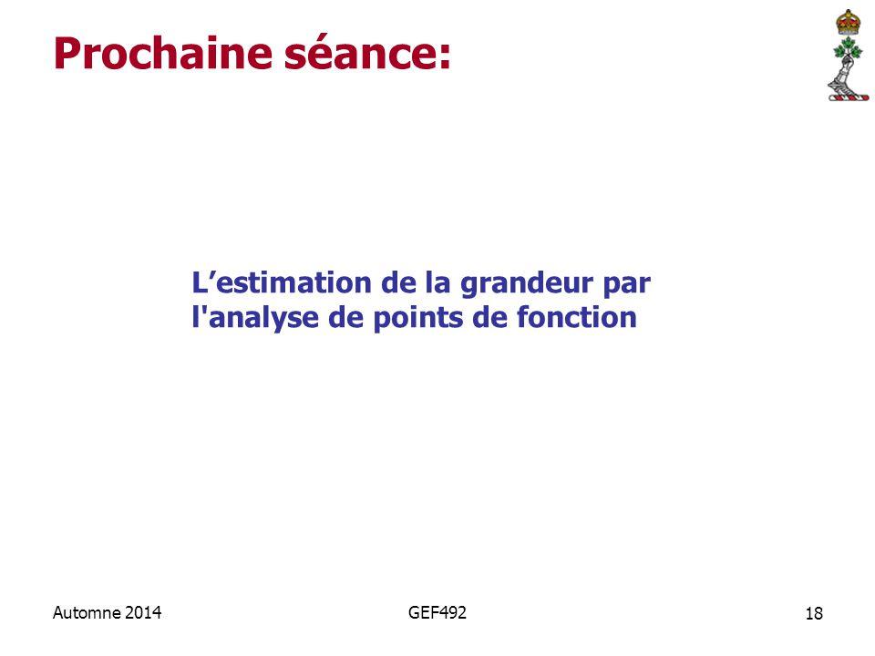 Prochaine séance: L'estimation de la grandeur par l analyse de points de fonction.