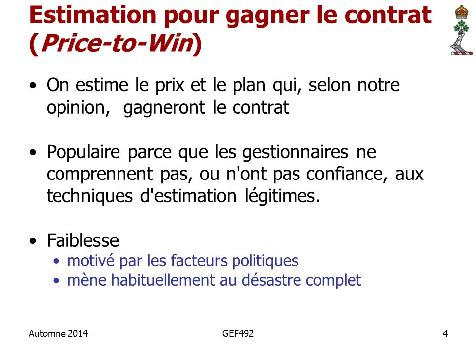 Estimation pour gagner le contrat (Price-to-Win)
