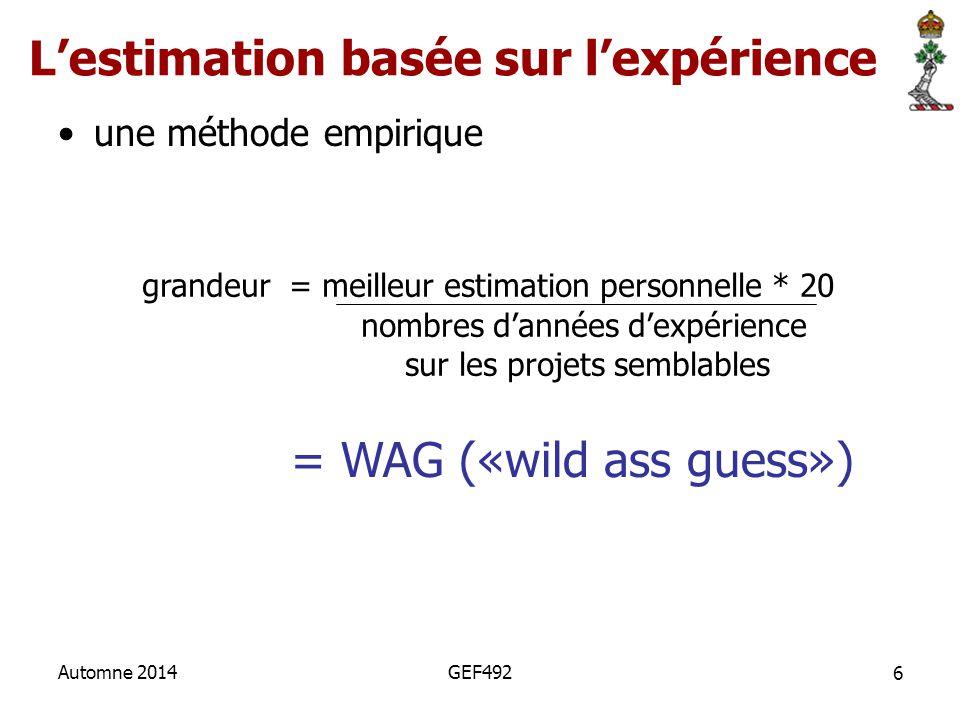 L'estimation basée sur l'expérience