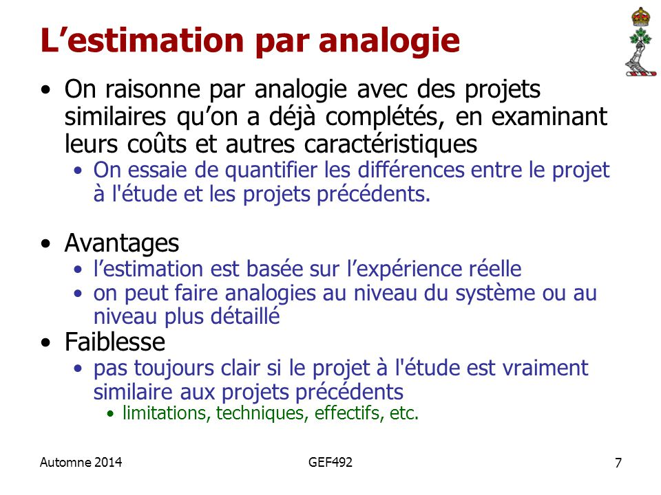 L'estimation par analogie