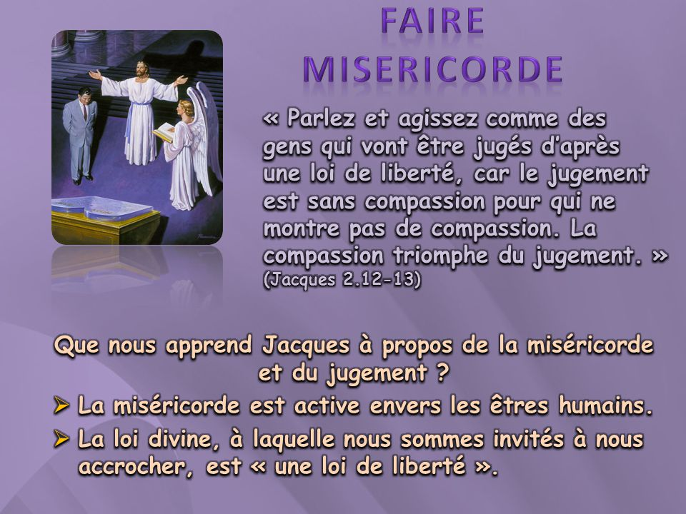Que nous apprend Jacques à propos de la miséricorde et du jugement