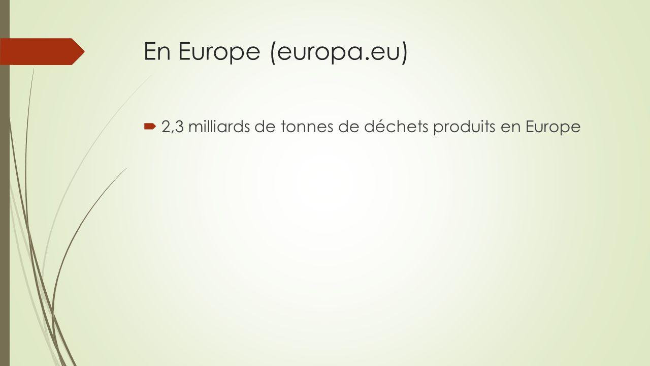 En Europe (europa.eu) 2,3 milliards de tonnes de déchets produits en Europe