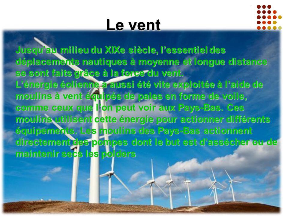 Le vent Jusqu'au milieu du XIXe siècle, l'essentiel des déplacements nautiques à moyenne et longue distance se sont faits grâce à la force du vent.