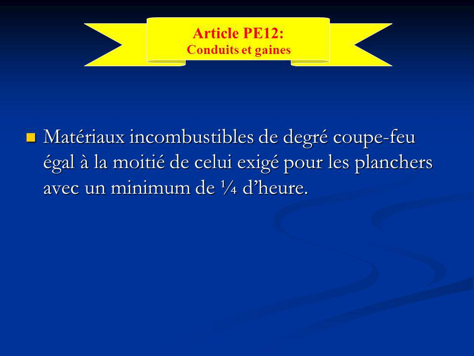 Article PE12: Conduits et gaines.