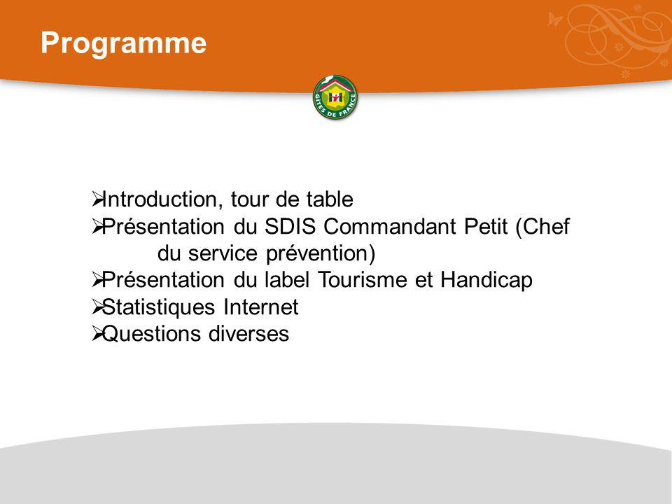 Programme Introduction, tour de table