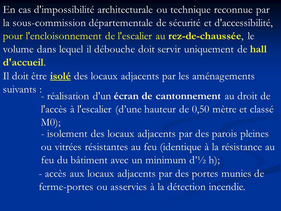 En cas d impossibilité architecturale ou technique reconnue par la sous-commission départementale de sécurité et d accessibilité, pour l encloisonnement de l escalier au rez-de-chaussée, le volume dans lequel il débouche doit servir uniquement de hall d accueil.