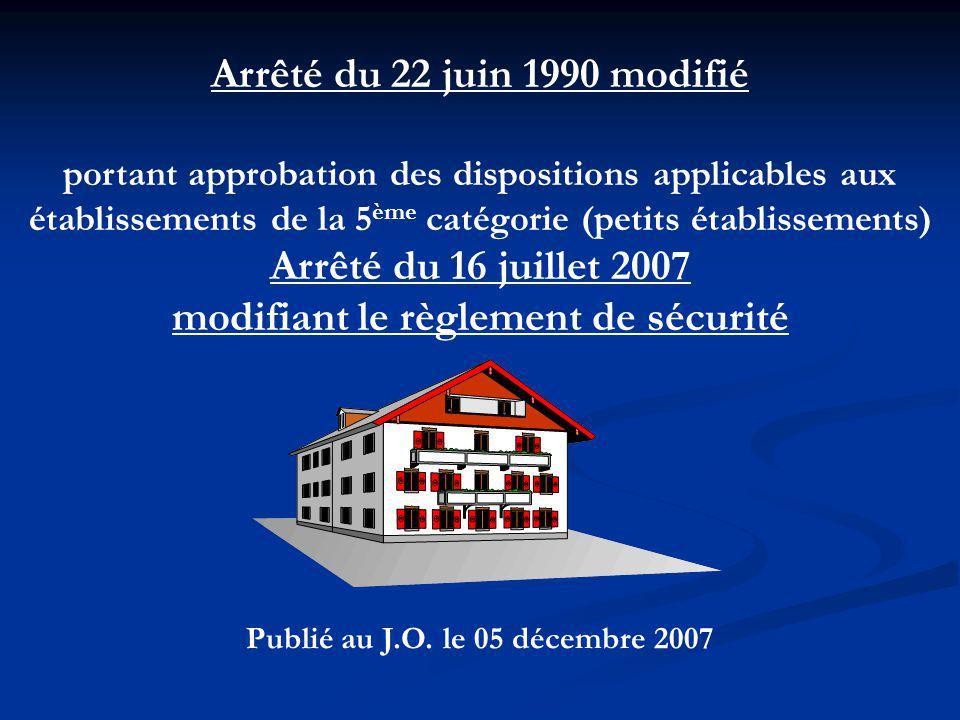 modifiant le règlement de sécurité Publié au J.O. le 05 décembre 2007