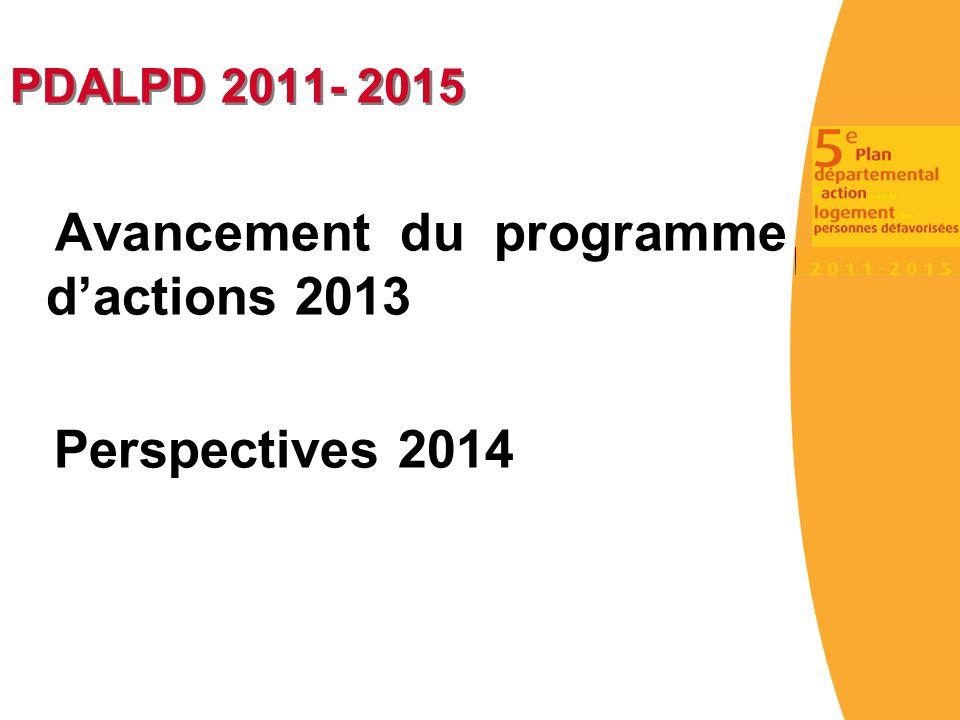 Avancement du programme d'actions 2013