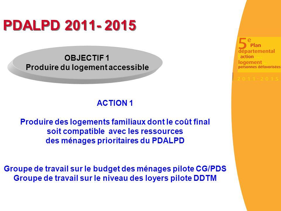 PDALPD 2011- 2015 OBJECTIF 1 Produire du logement accessible ACTION 1