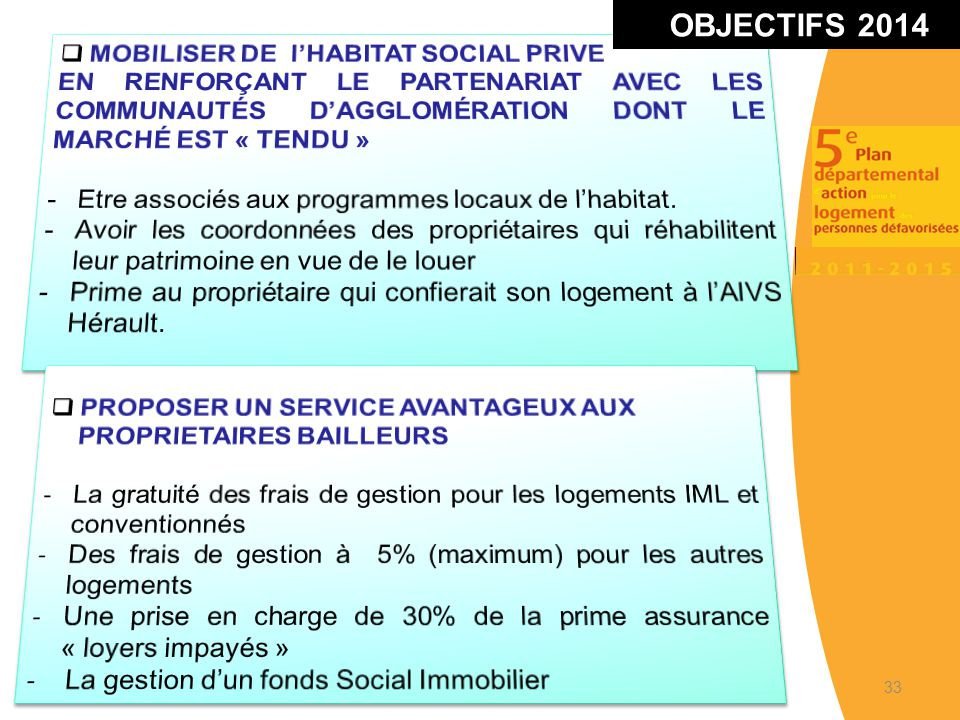 OBJECTIFS 2014 MOBILISER DE l'HABITAT SOCIAL PRIVE