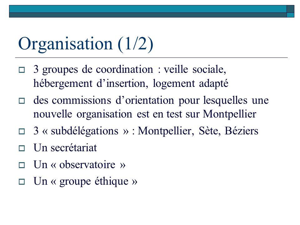 Organisation (1/2) 3 groupes de coordination : veille sociale, hébergement d'insertion, logement adapté.