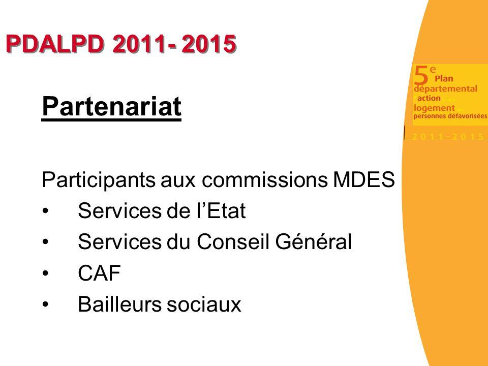 Partenariat PDALPD 2011- 2015 Participants aux commissions MDES