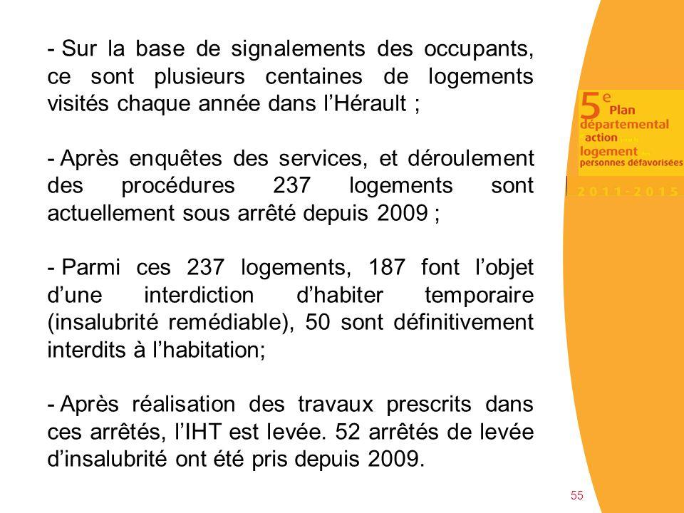Sur la base de signalements des occupants, ce sont plusieurs centaines de logements visités chaque année dans l'Hérault ;