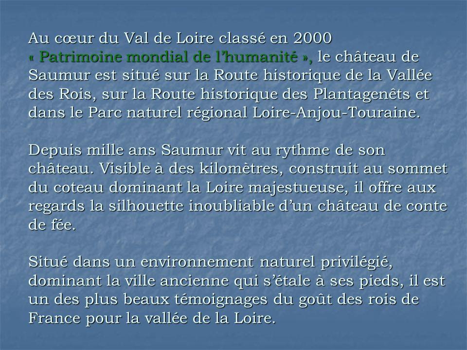 Au cœur du Val de Loire classé en 2000 « Patrimoine mondial de l'humanité », le château de Saumur est situé sur la Route historique de la Vallée des Rois, sur la Route historique des Plantagenêts et dans le Parc naturel régional Loire-Anjou-Touraine.