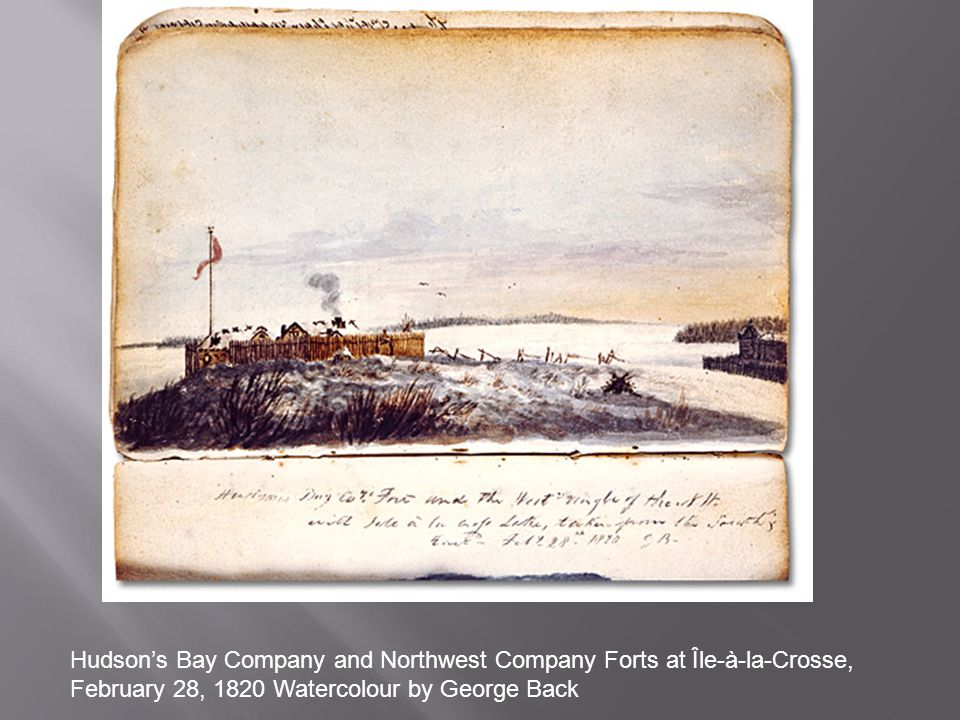 Hudson's Bay Company and Northwest Company Forts at Île-à-la-Crosse, February 28, 1820 Watercolour by George Back