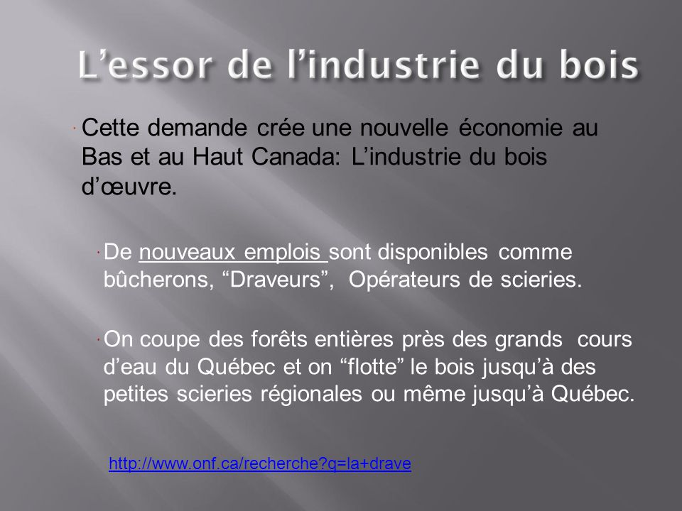 Cette demande crée une nouvelle économie au Bas et au Haut Canada: L'industrie du bois d'œuvre.