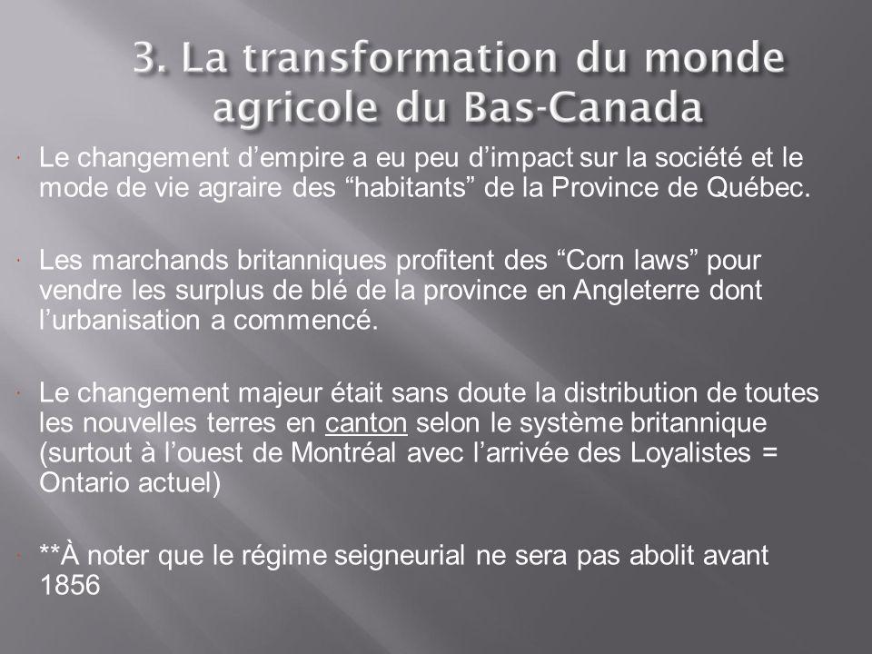 Le changement d'empire a eu peu d'impact sur la société et le mode de vie agraire des habitants de la Province de Québec.