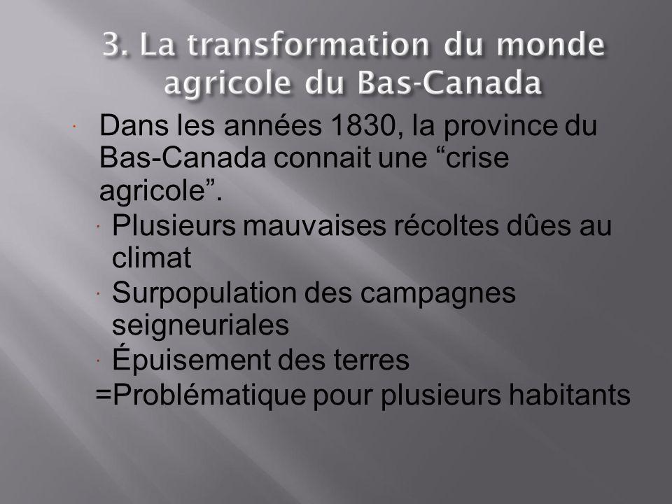 Dans les années 1830, la province du Bas-Canada connait une crise agricole .