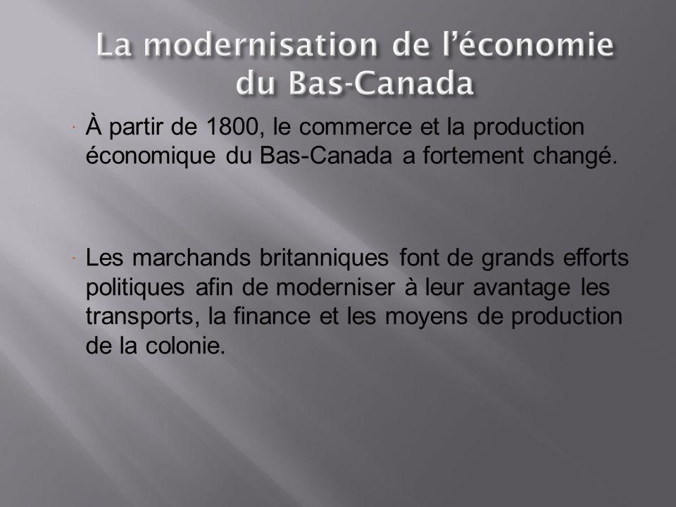 À partir de 1800, le commerce et la production économique du Bas-Canada a fortement changé.