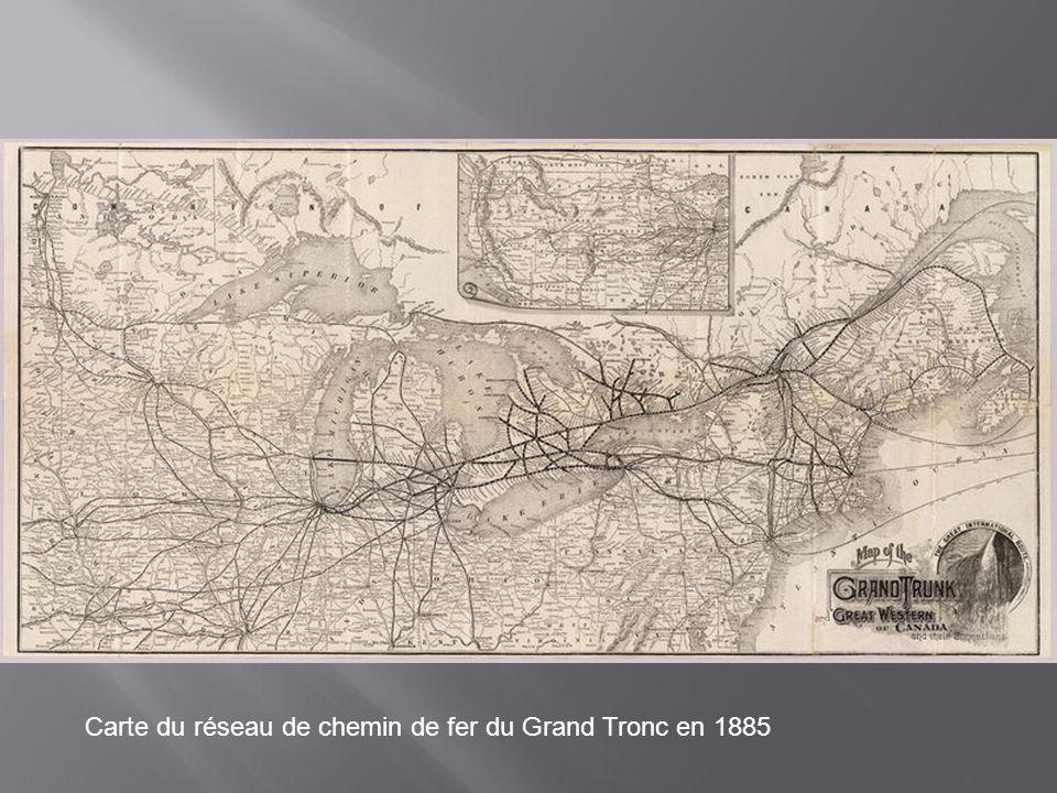 Carte du réseau de chemin de fer du Grand Tronc en 1885