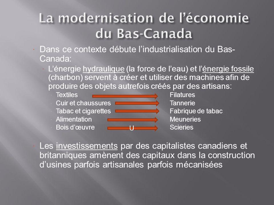 Dans ce contexte débute l'industrialisation du Bas- Canada: