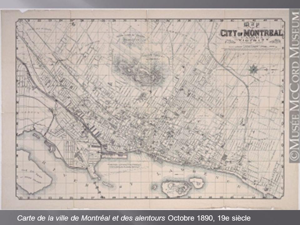 Carte de la ville de Montréal et des alentours Octobre 1890, 19e siècle