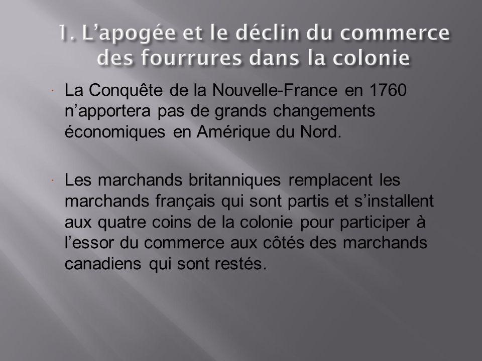 La Conquête de la Nouvelle-France en 1760 n'apportera pas de grands changements économiques en Amérique du Nord.