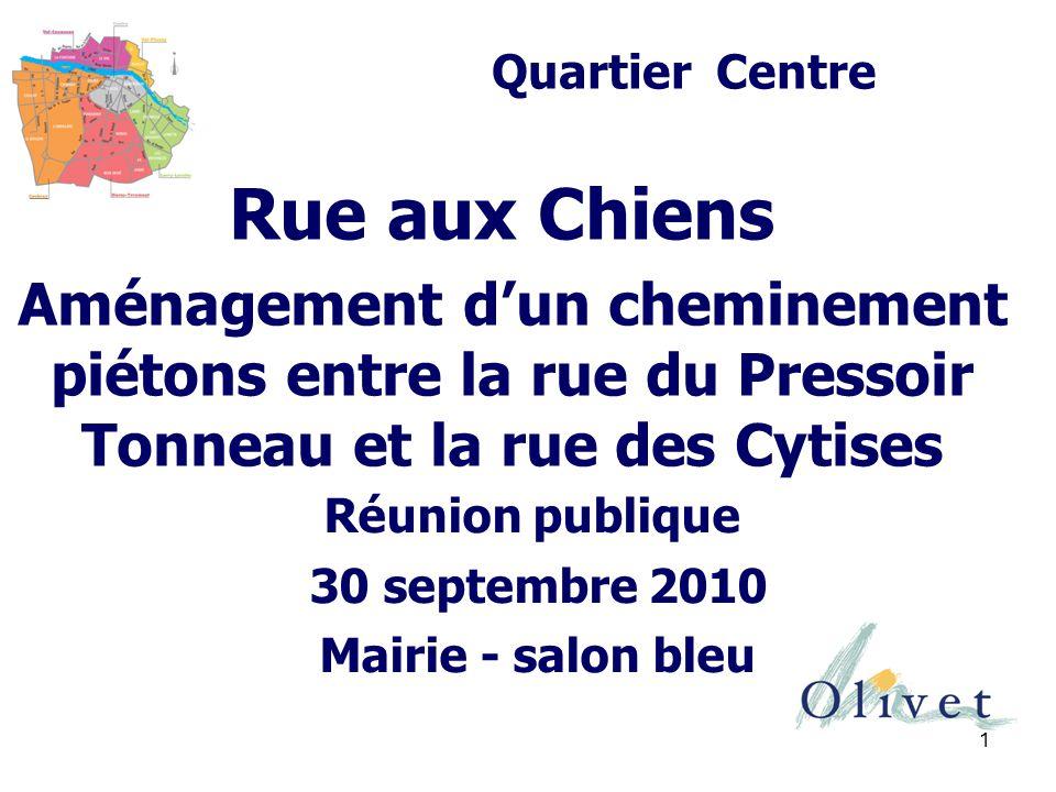 Quartier Centre Rue aux Chiens. Aménagement d'un cheminement piétons entre la rue du Pressoir Tonneau et la rue des Cytises.