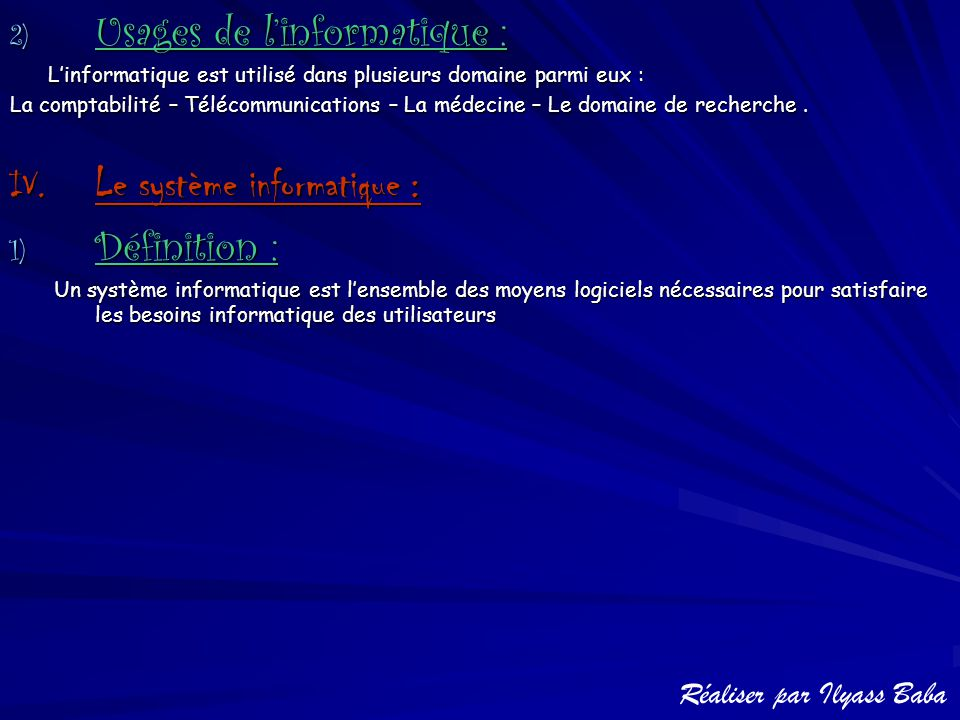 Usages de l'informatique :