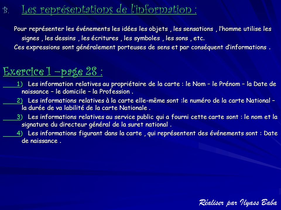 Les représentations de l'information :