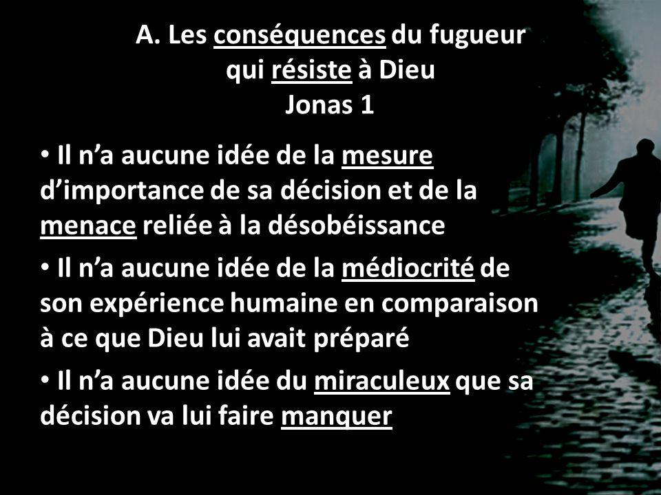 A. Les conséquences du fugueur qui résiste à Dieu Jonas 1