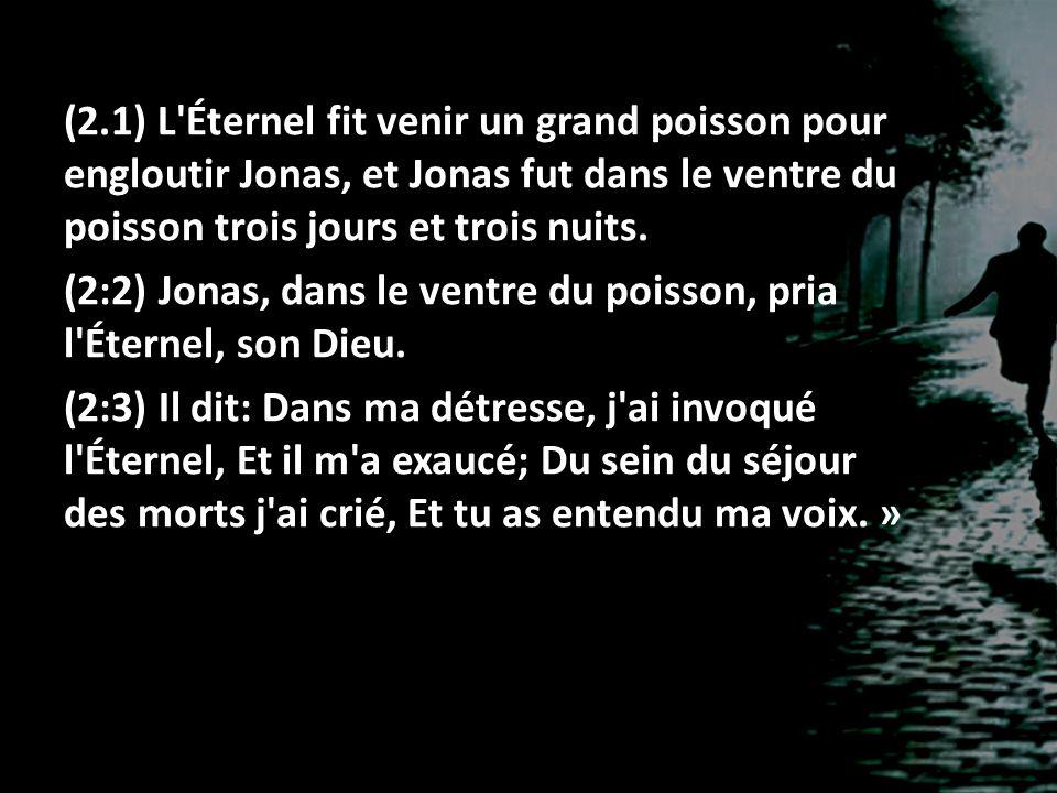 (2.1) L Éternel fit venir un grand poisson pour engloutir Jonas, et Jonas fut dans le ventre du poisson trois jours et trois nuits.