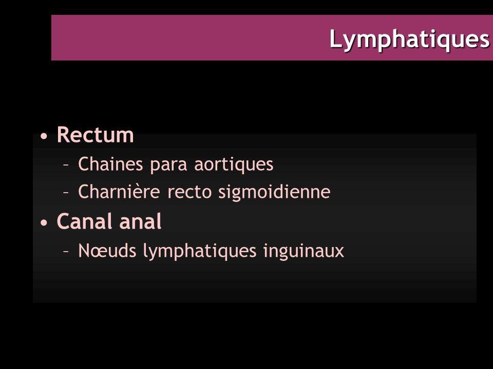Lymphatiques Rectum Canal anal Chaines para aortiques