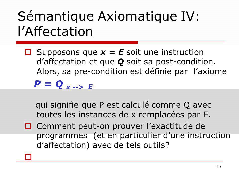 Sémantique Axiomatique IV: l'Affectation