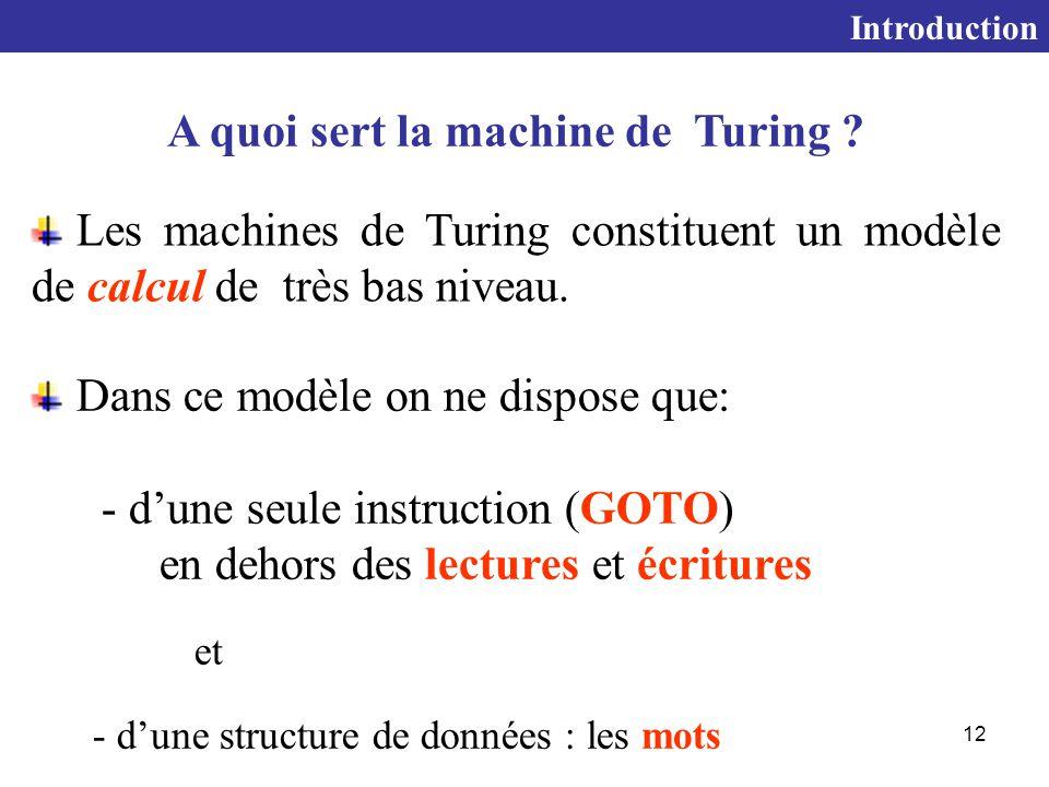 A quoi sert la machine de Turing