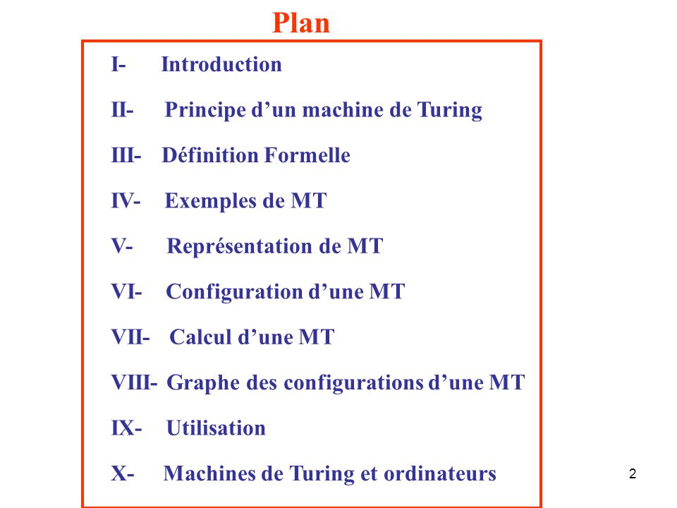 Plan I- Introduction II- Principe d'un machine de Turing
