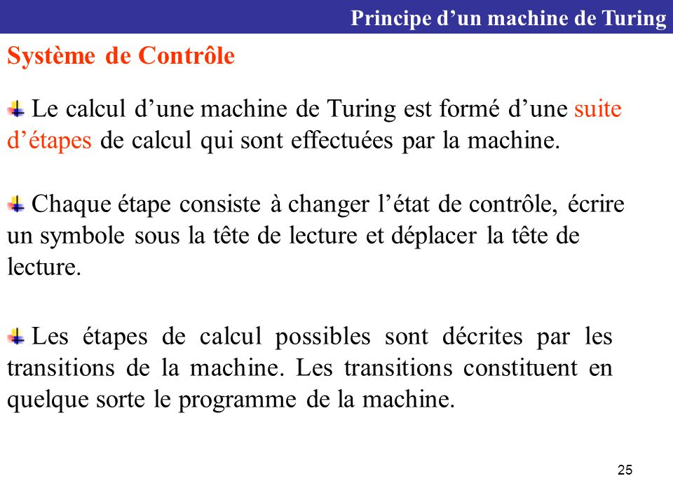 Principe d'un machine de Turing