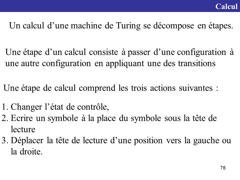 Un calcul d'une machine de Turing se décompose en étapes.