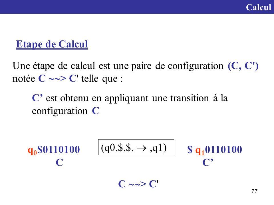 C' est obtenu en appliquant une transition à la configuration C