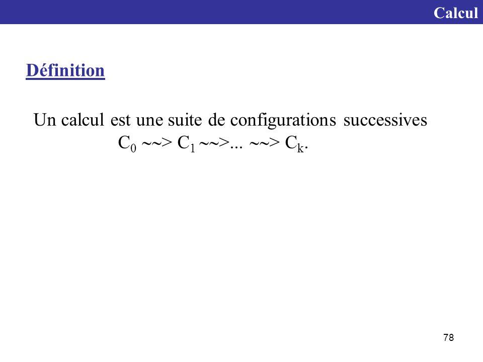 Un calcul est une suite de configurations successives