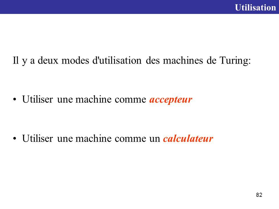 Il y a deux modes d utilisation des machines de Turing: