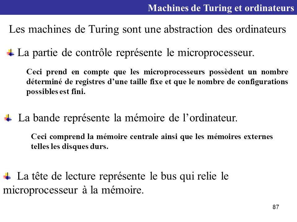 Les machines de Turing sont une abstraction des ordinateurs
