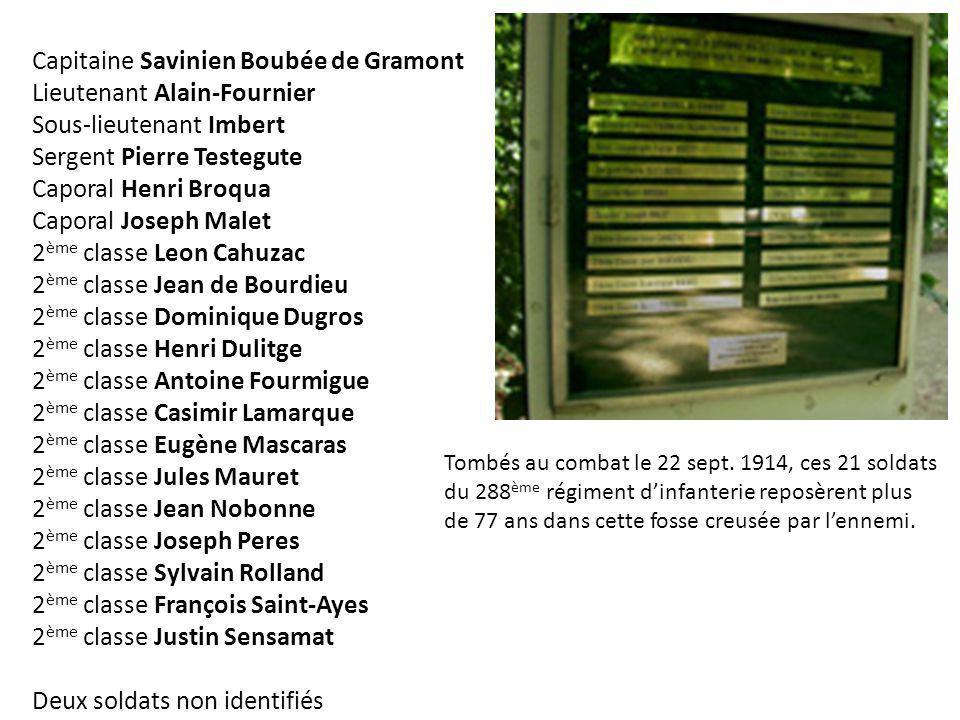 Capitaine Savinien Boubée de Gramont Lieutenant Alain-Fournier