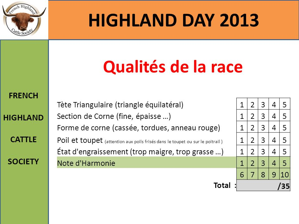 HIGHLAND DAY 2013 Qualités de la race FRENCH HIGHLAND CATTLE SOCIETY