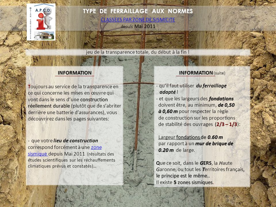 TYPE DE FERRAILLAGE AUX NORMES
