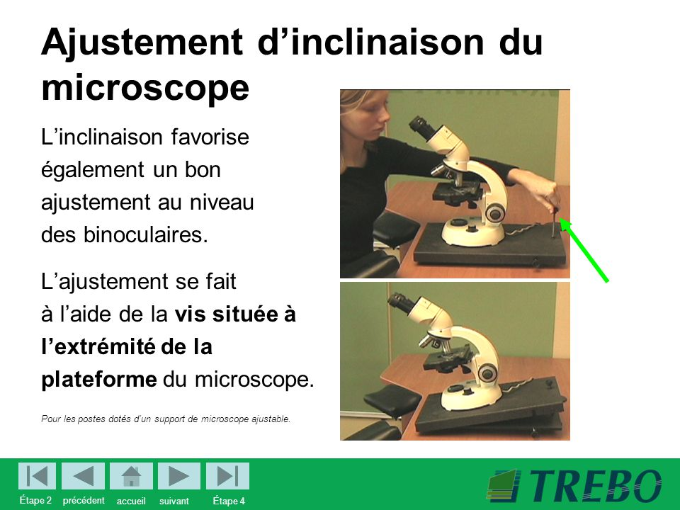 Ajustement d'inclinaison du microscope