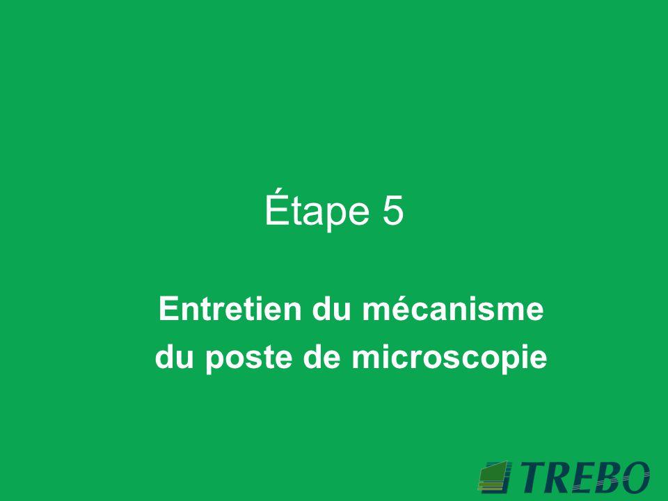 Entretien du mécanisme du poste de microscopie