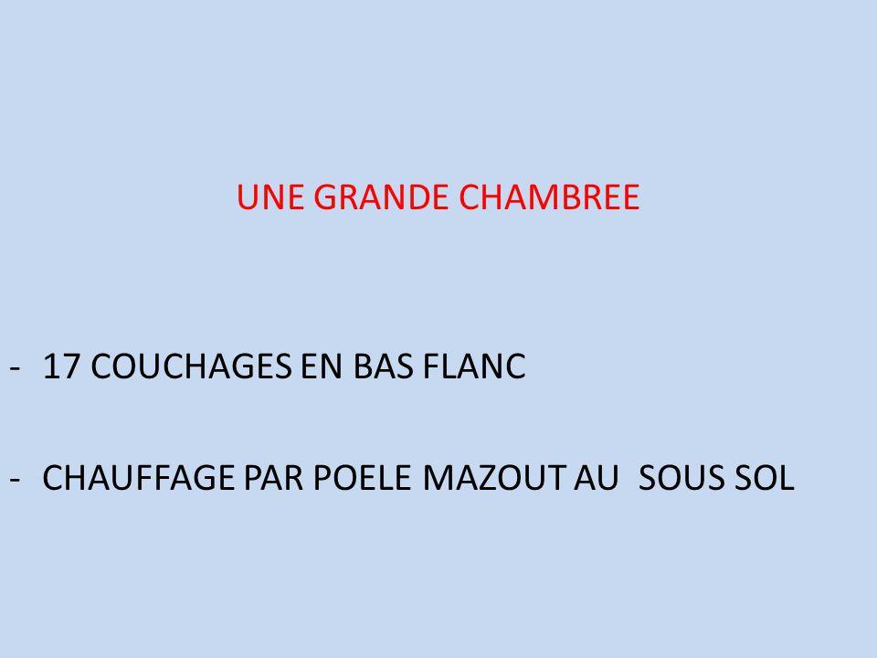 UNE GRANDE CHAMBREE 17 COUCHAGES EN BAS FLANC CHAUFFAGE PAR POELE MAZOUT AU SOUS SOL