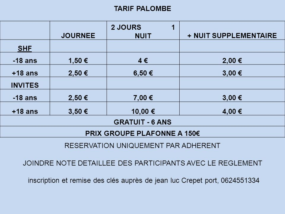 PRIX GROUPE PLAFONNE A 150€